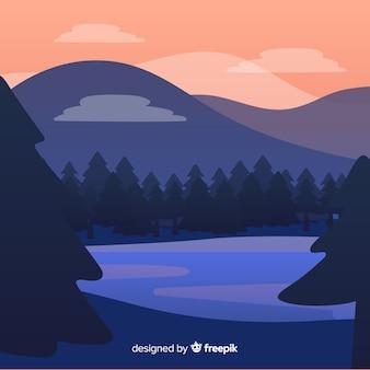 Природный ландшафт фон плоский дизайн