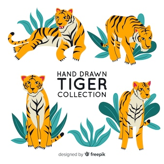 Стая рисованных тигров