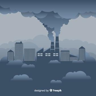 フラットデザインの煙を引く工場