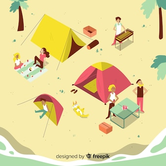 晴れた日にキャンプをする人々
