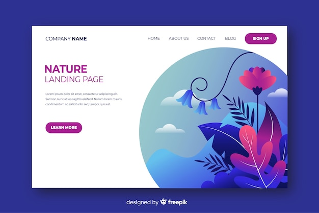 Плоский дизайн страницы природы