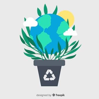 Экология концепции фон плоский стиль