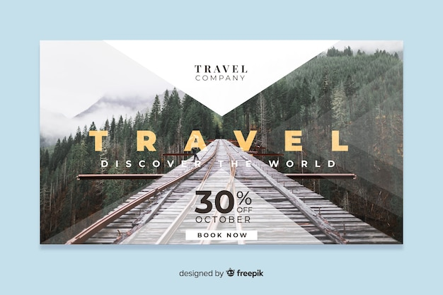 Туристический веб-баннер с фотографией
