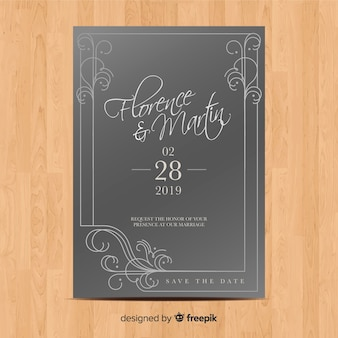 エレガントな装飾品で結婚式の招待状のテンプレート