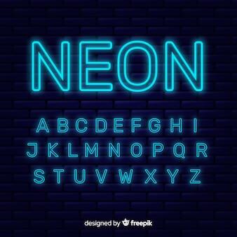 Неоновый алфавит шаблон плоский дизайн