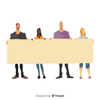 白紙の横断幕を保持している若者のフラットなデザイン