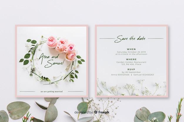 日付の結婚式の招待状のテンプレートを保存する
