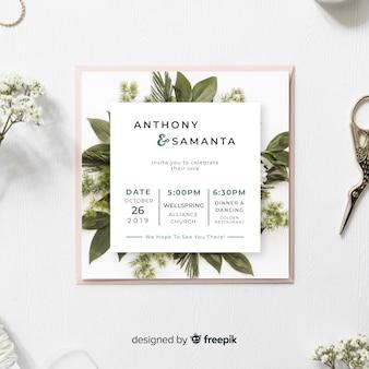 葉の結婚式の招待状のテンプレート