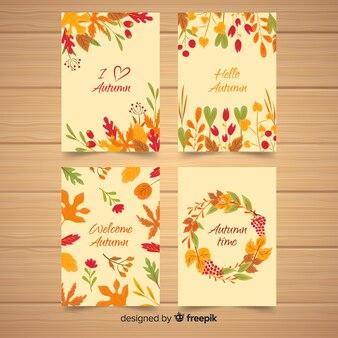 手描き秋カードコレクション