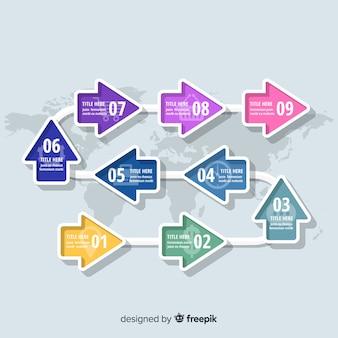 インフォグラフィックステップテンプレートフラットデザイン
