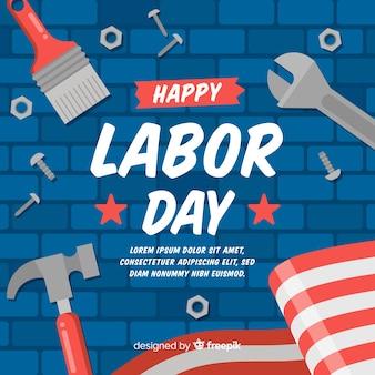 労働者の日背景フラットスタイル