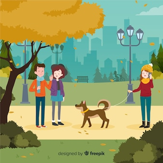 Люди в парке осенью