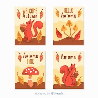 手描き秋カードのコレクション