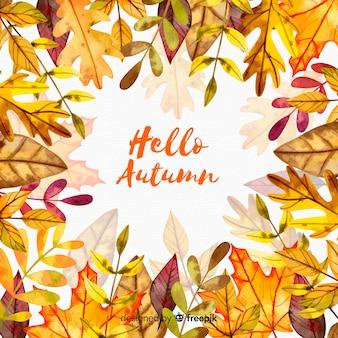 秋の葉の水彩画の背景