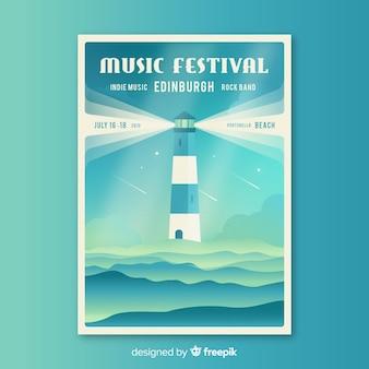 Шаблон плаката фестиваля плоской музыки