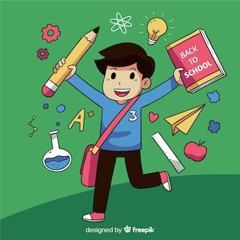 学校に戻る幸せな子供たちのキャラクター
