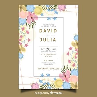 結婚式の招待状のテンプレートフラットデザイン