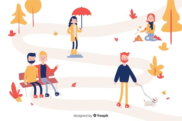 秋に歩く人のセット