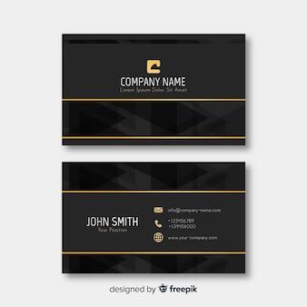 Элегантный шаблон визитной карточки золотые детали