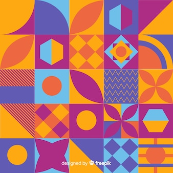カラフルな幾何学的なモザイクと抽象的な背景