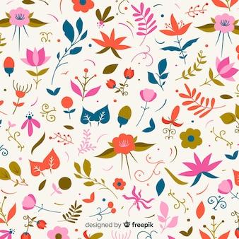 色とりどりの花の背景フラットデザイン