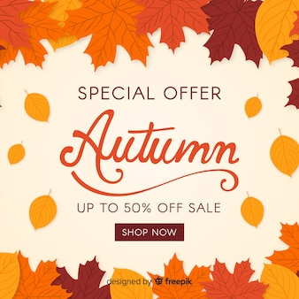 Осенняя распродажа фон плоский дизайн