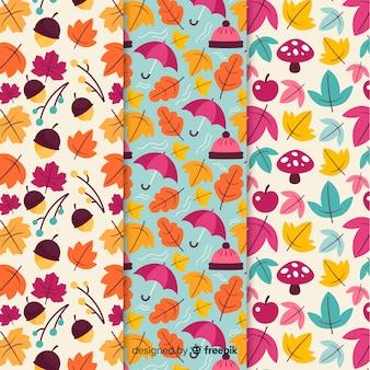 Красочный осенний узор коллекции плоский дизайн