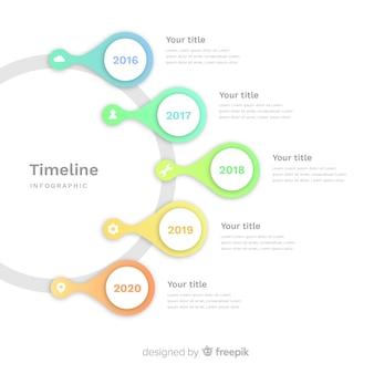 タイムラインインフォグラフィックテンプレートフラットスタイル
