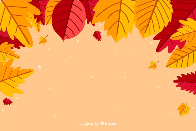 秋の紅葉背景フラットスタイル