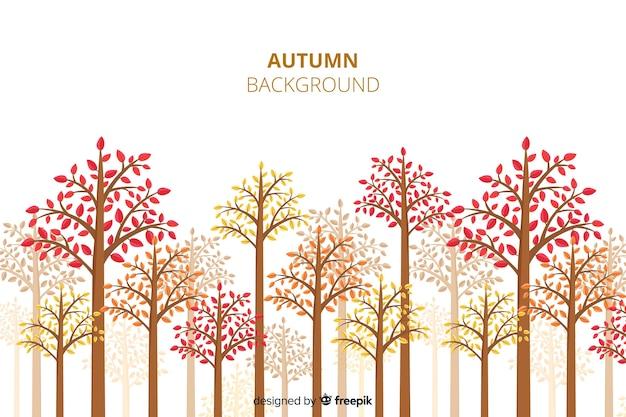 Осенний декоративный фон плоский стиль
