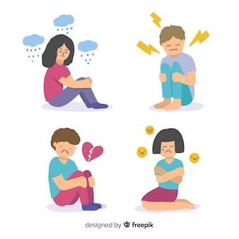 若者の感情のセット