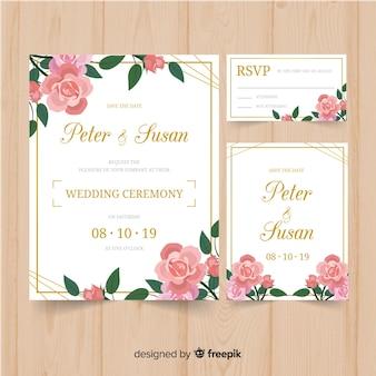 結婚式の定番テンプレート花柄