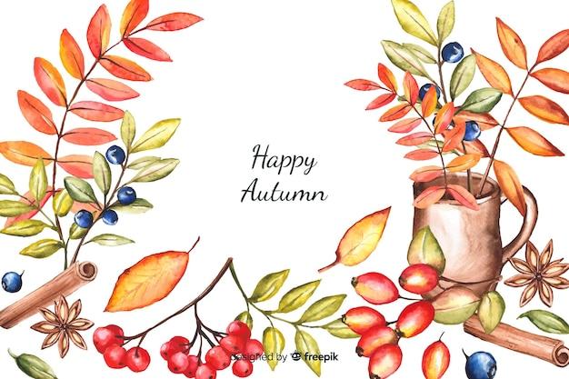 秋の装飾的な背景の水彩風