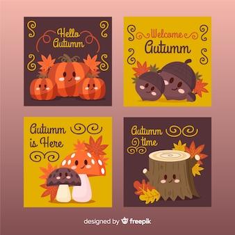 秋の手描きのカードのコレクション