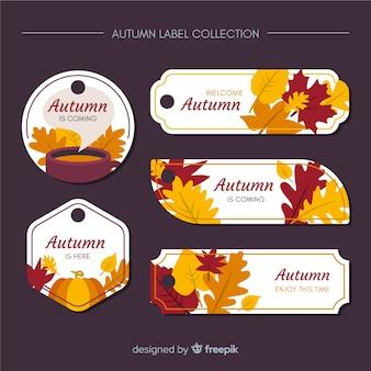 秋のラベルフラットデザインのコレクション