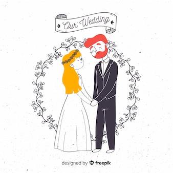 結婚式のカップルの手描きスタイル