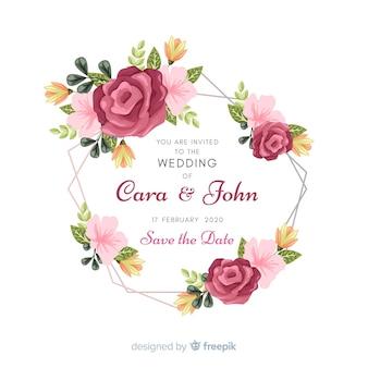 花のフレームの結婚式の招待カード