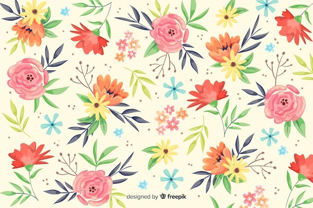 カラフルな塗られた花の装飾的な背景