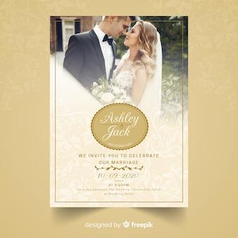 写真付きの結婚式の招待カード
