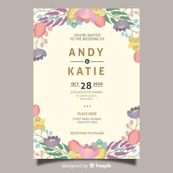花の結婚式の招待カードテンプレート