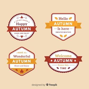 秋のバッジコレクションフラットスタイル