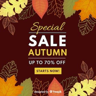 Осенняя распродажа фон плоский стиль