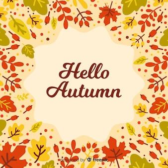 秋の装飾的な背景のフラットスタイル