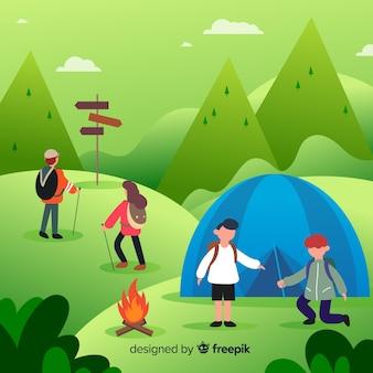 フラットなデザインのキャンプの人々のセット