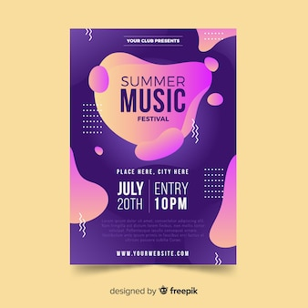 Шаблон плаката музыкальный фестиваль эффект жидкости
