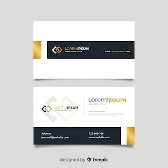 Шаблон визитной карточки золотые детали