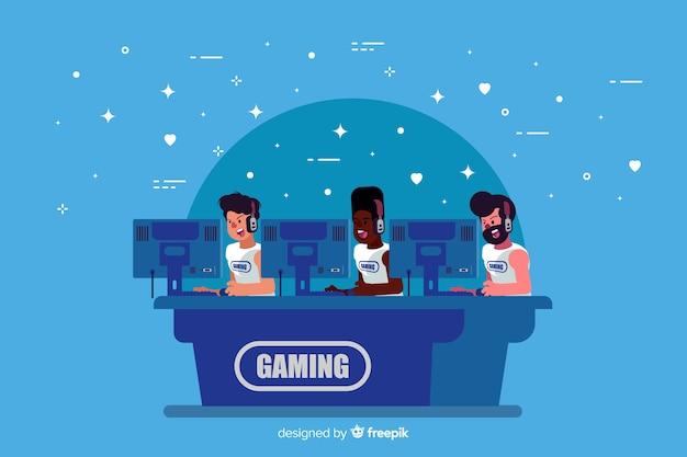 コンピューターで遊んでいるゲーミングチーム
