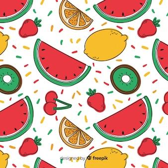 手描きフルーツパターン背景
