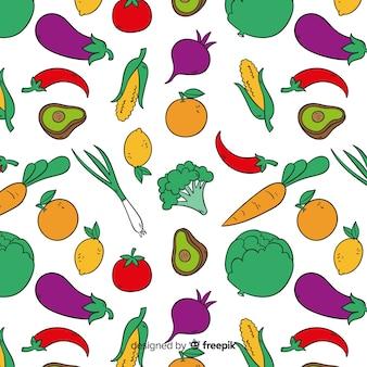 手描き野菜パターン背景