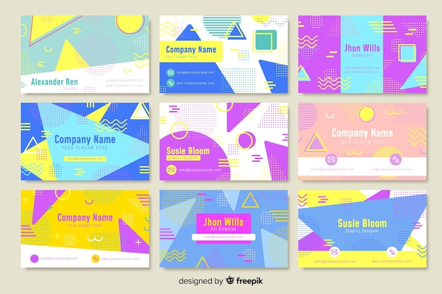 Шаблоны визиток в стиле мемфис